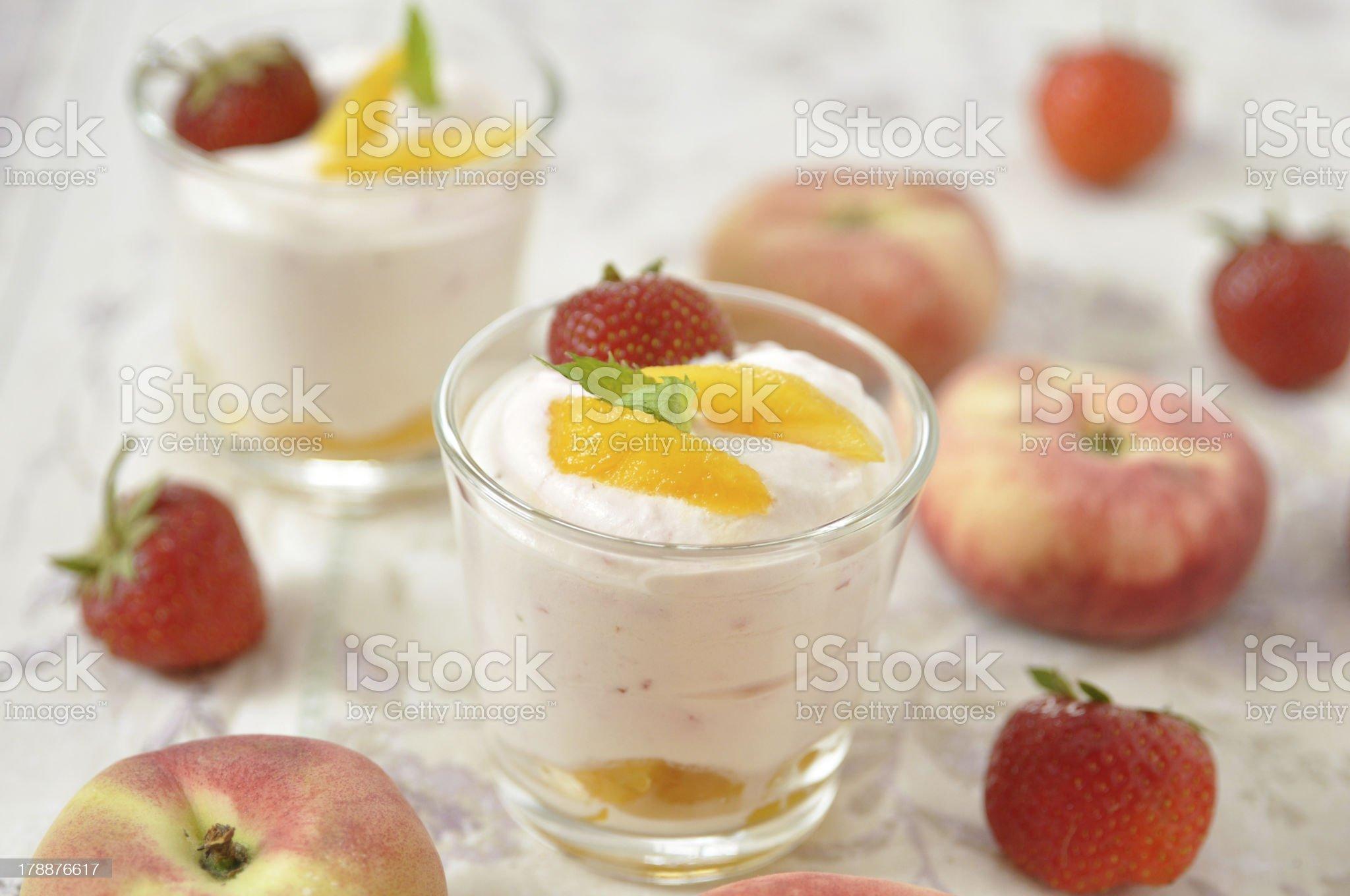 creamy strawberry and peach desserts royalty-free stock photo