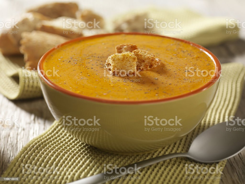 Creamy Tomato Soup with Crusty Bread stock photo