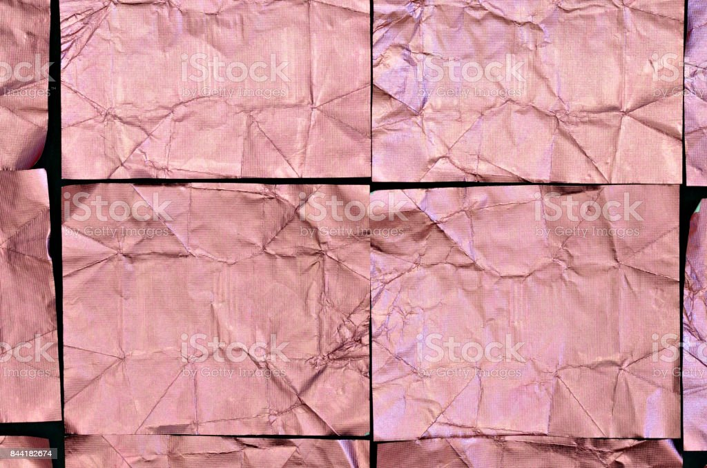 Creased Aluminium foil Background, pink stock photo