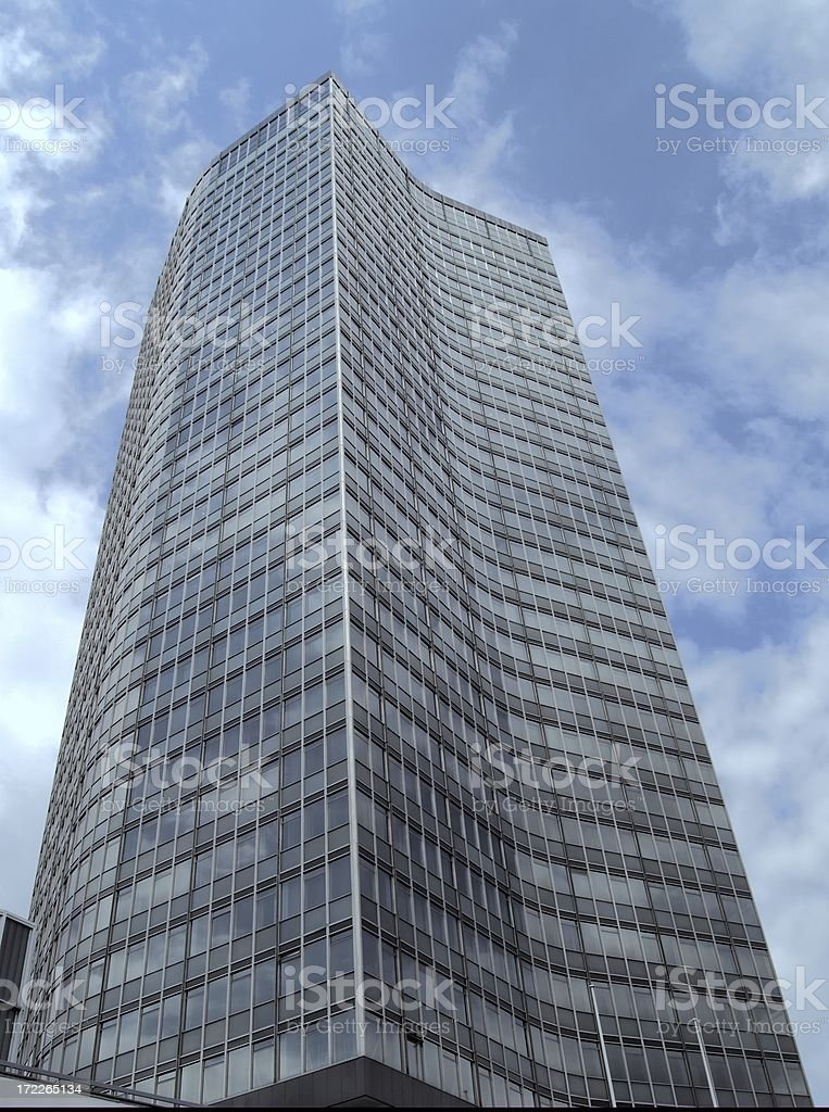 Creased glass office building stock photo