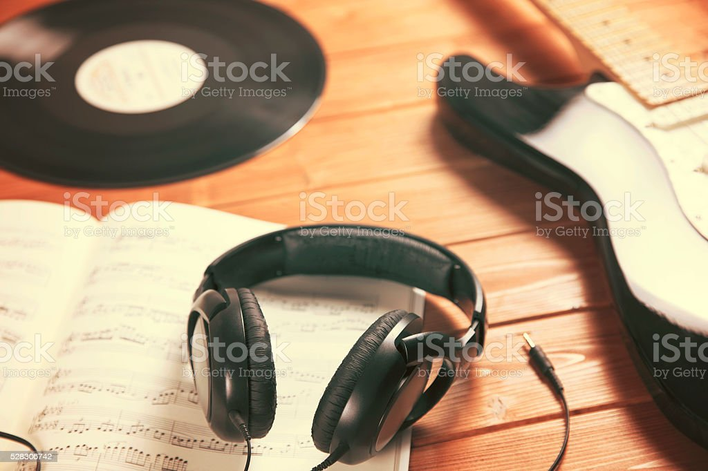 create and listen to music stock photo