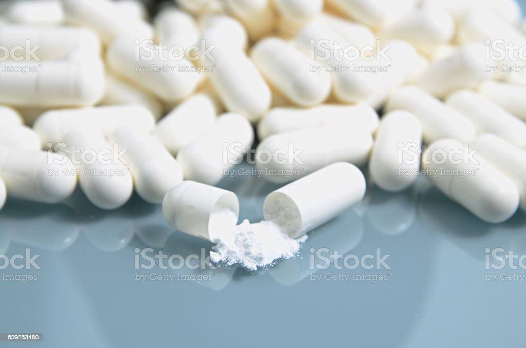 Creatine pills stock photo