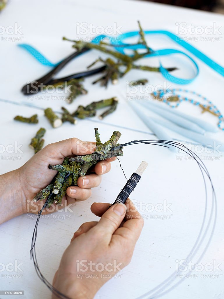 Creating a Candlelight Decoration... stock photo