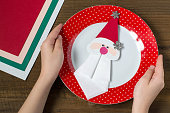 Creating a Christmas decoration for table setting. Step 10