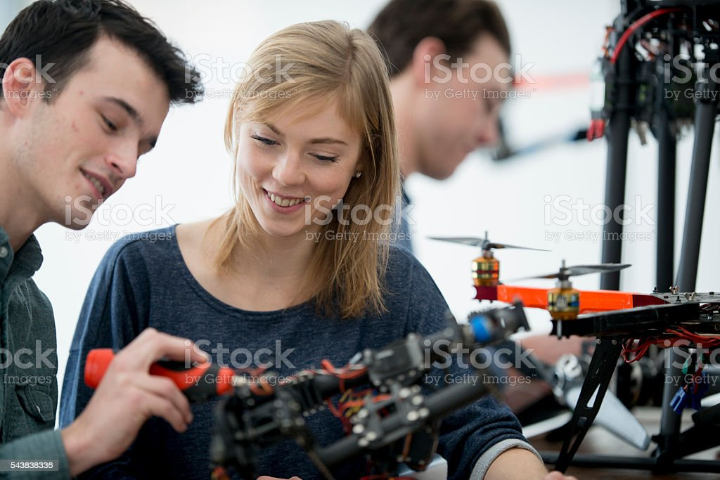 Creating a Drone in University stock photo