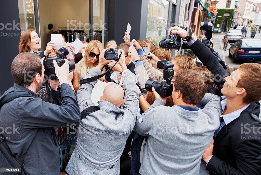 Creating a media frenzy royalty-free stock photo