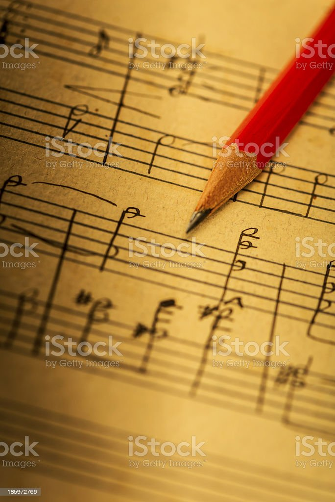 Creating a musical composition stock photo