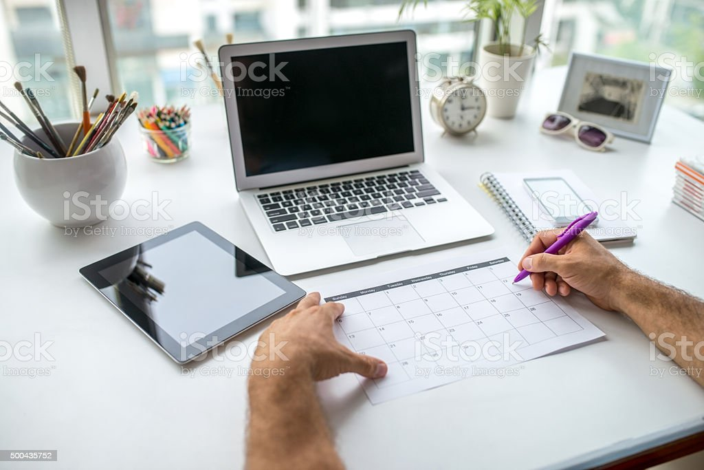 Creating a Schedule stock photo