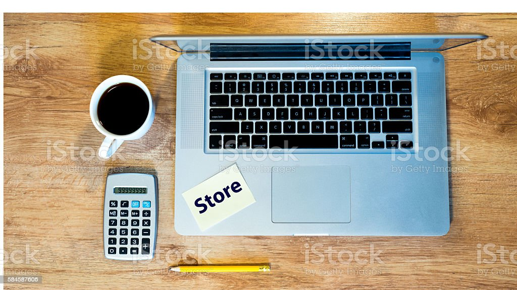 creating a store with laptop royalty-free stock photo