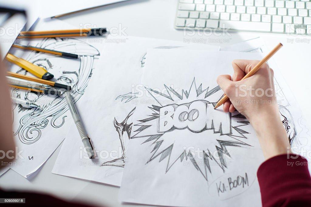 Creating comic stock photo