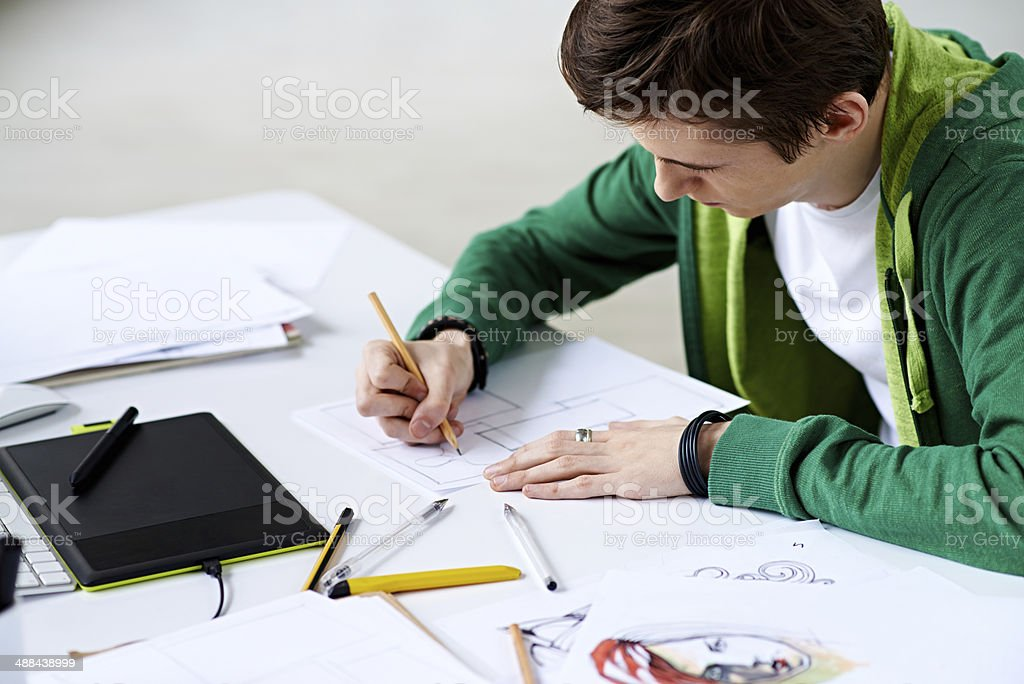 Creating comics stock photo