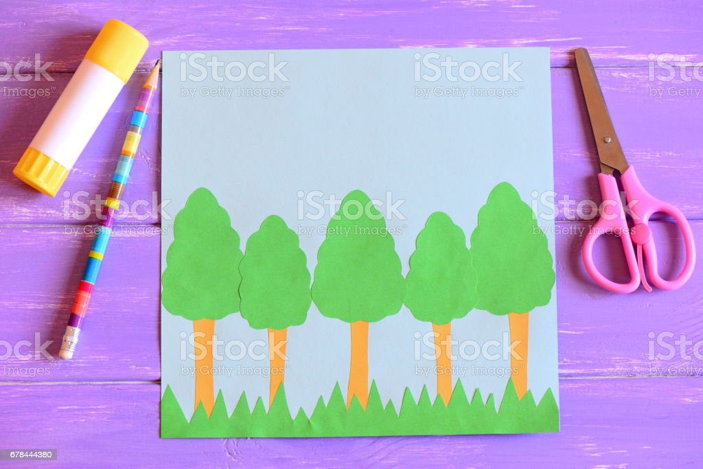 Creating Earth day card. Step. Guide. Earth day card with trees and grass stock photo