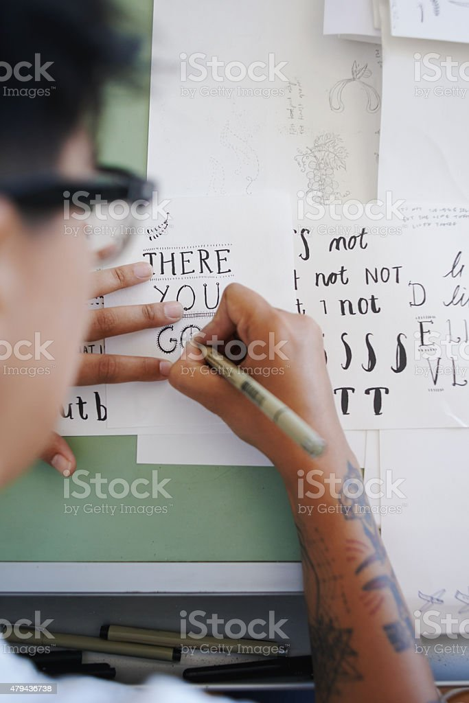 Creating gorgeous calligraphy stock photo