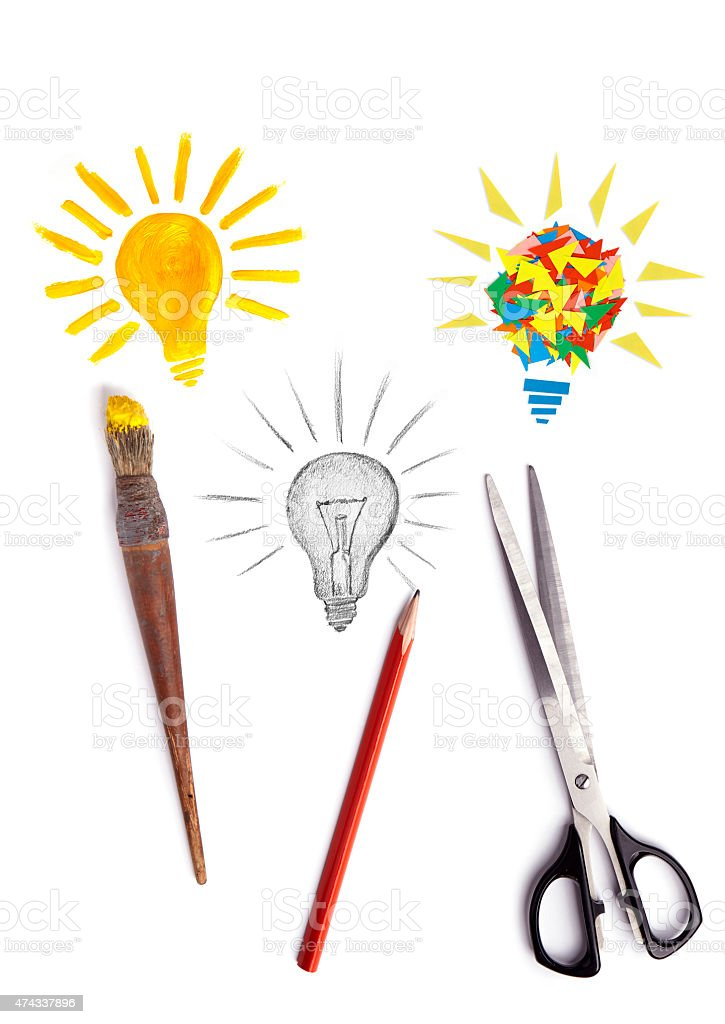 Creating ideas with brush, pencil and scissors stock photo
