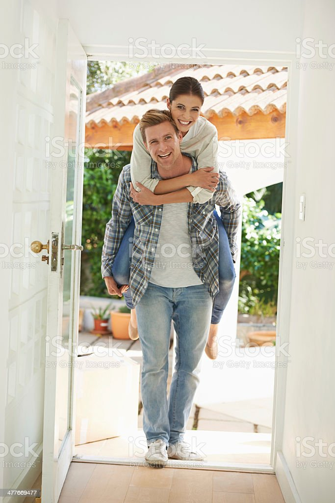 Creating memories together in our new home royalty-free stock photo