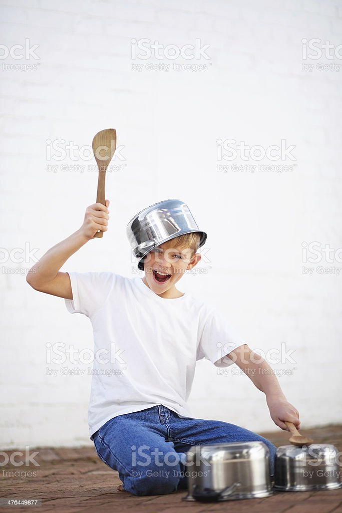 Creating music his own way stock photo