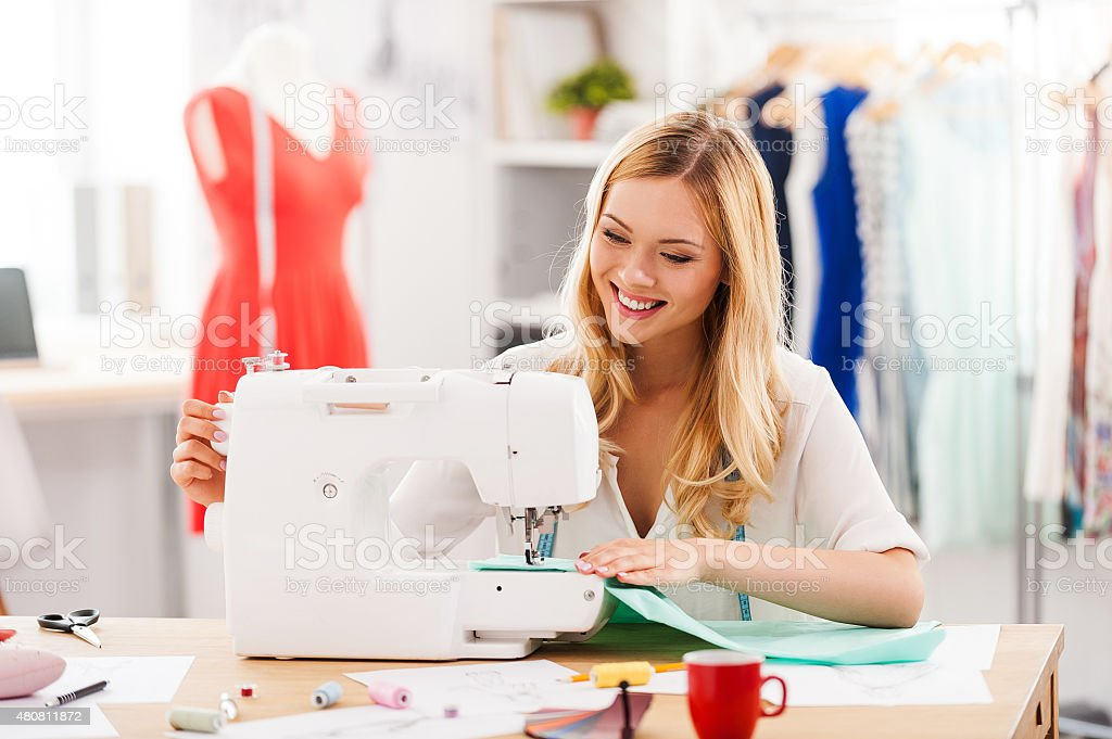 Creating new fashionable styles. stock photo