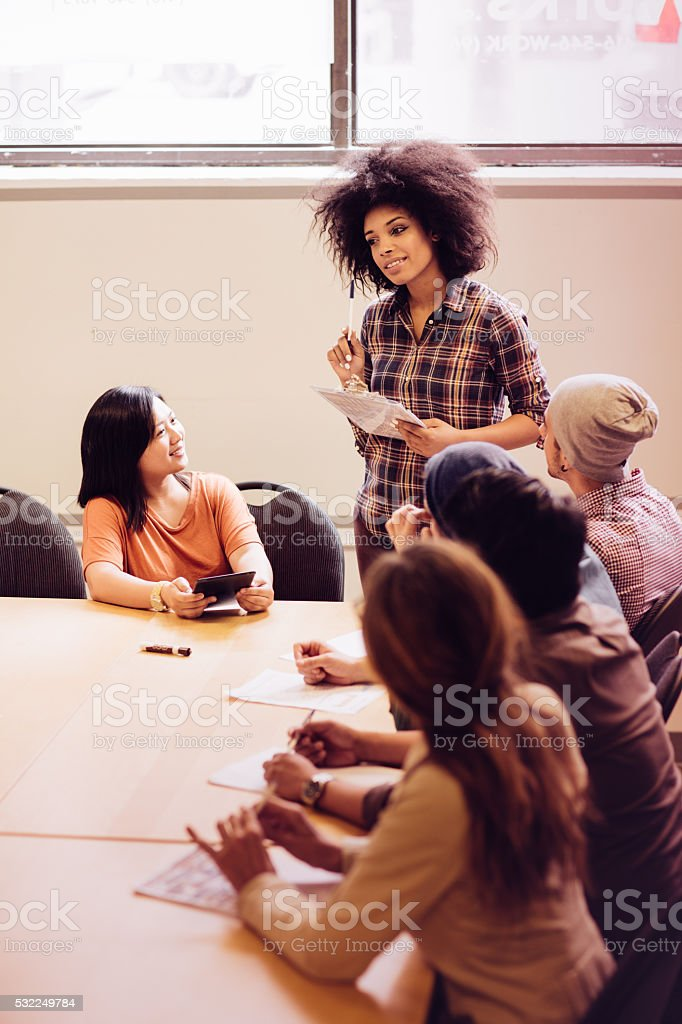 Creating new project together stock photo