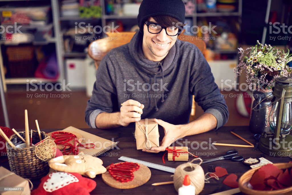 Creating romantic gifts stock photo