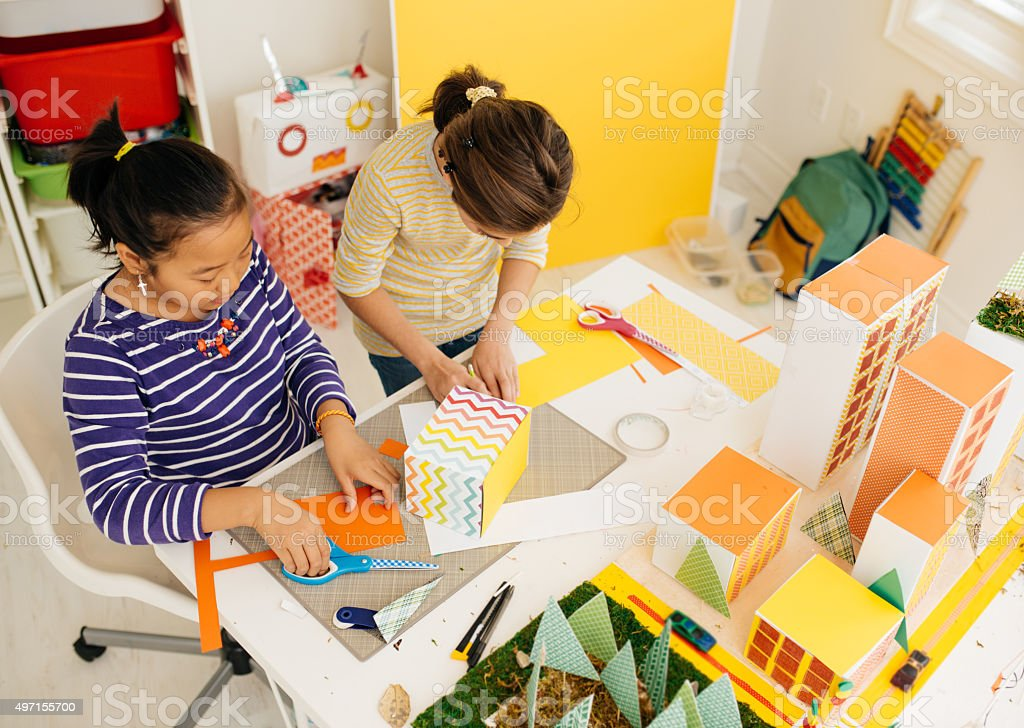 Creating school project stock photo