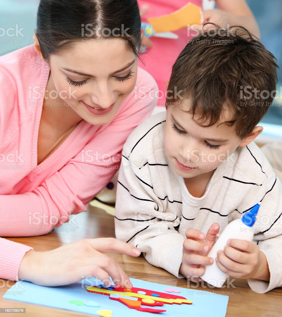 Creating with kids royalty-free stock photo