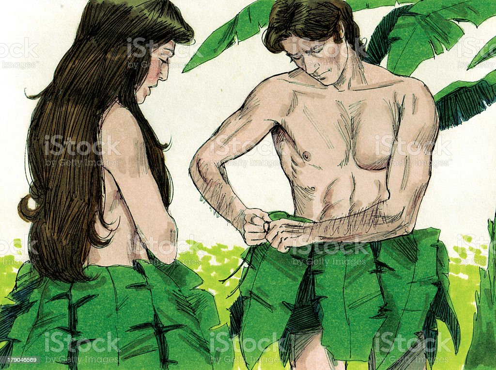 Creation Adam and Eve Hide Nakedness stock photo