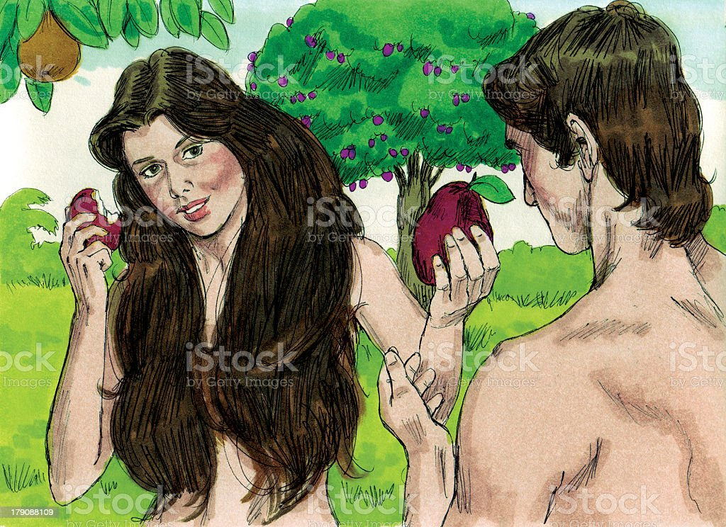 Creation Eve Offers Forbidden Fruit to Adam stock photo