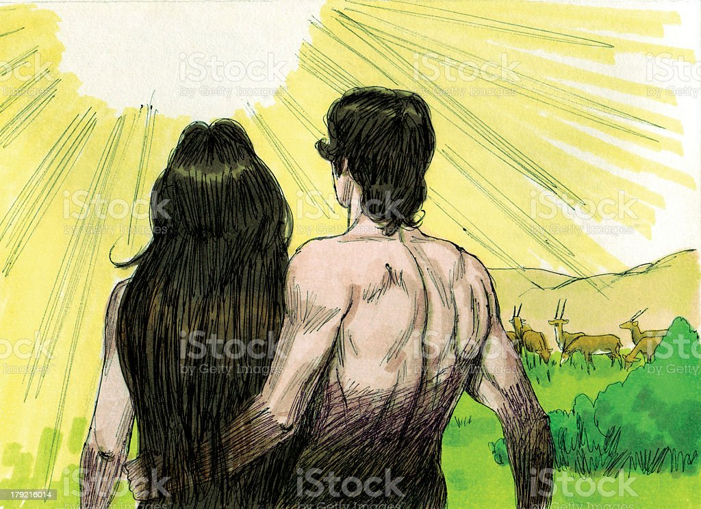 Creation God speaks to Adam and Eve stock photo