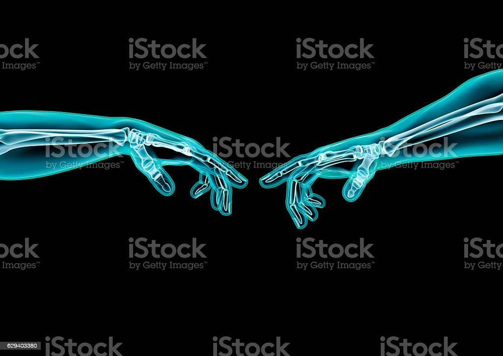 Creation hands x-ray stock photo