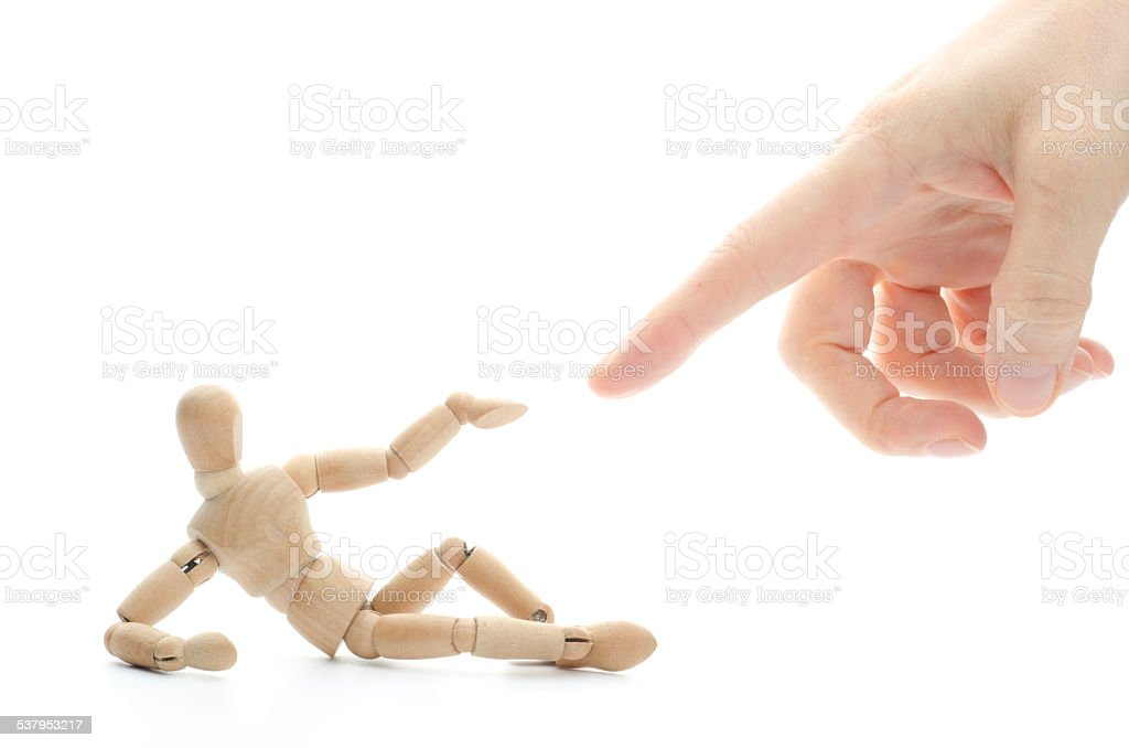 Creation of wooden mannequin - touching the finger of god stock photo