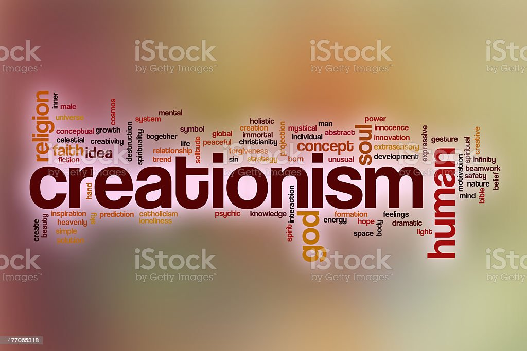 Creationism word cloud with abstract background stock photo