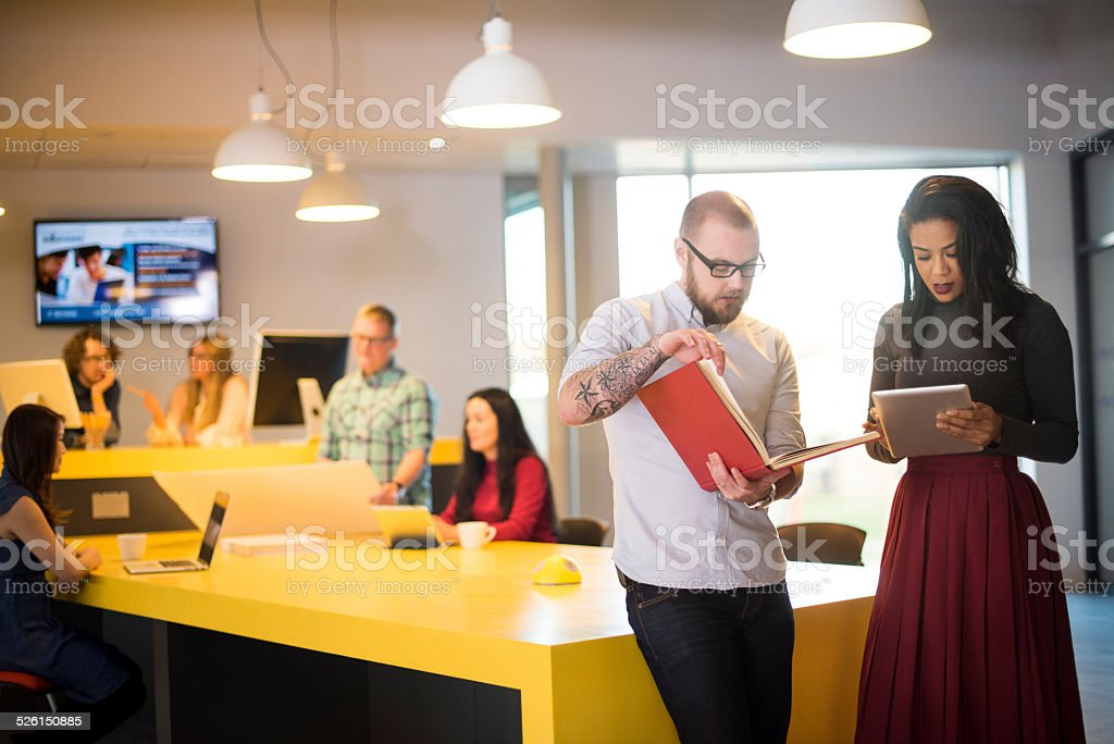 creative agency hotdesking stock photo