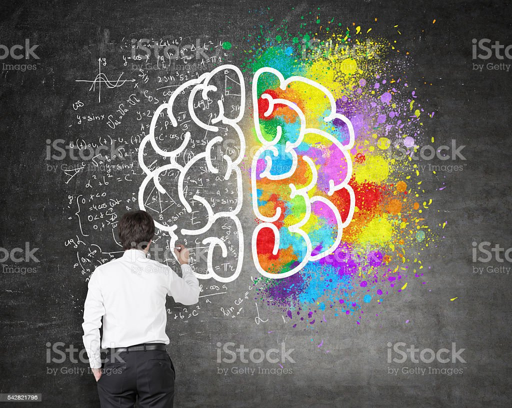 Creative and analytical thinking stock photo