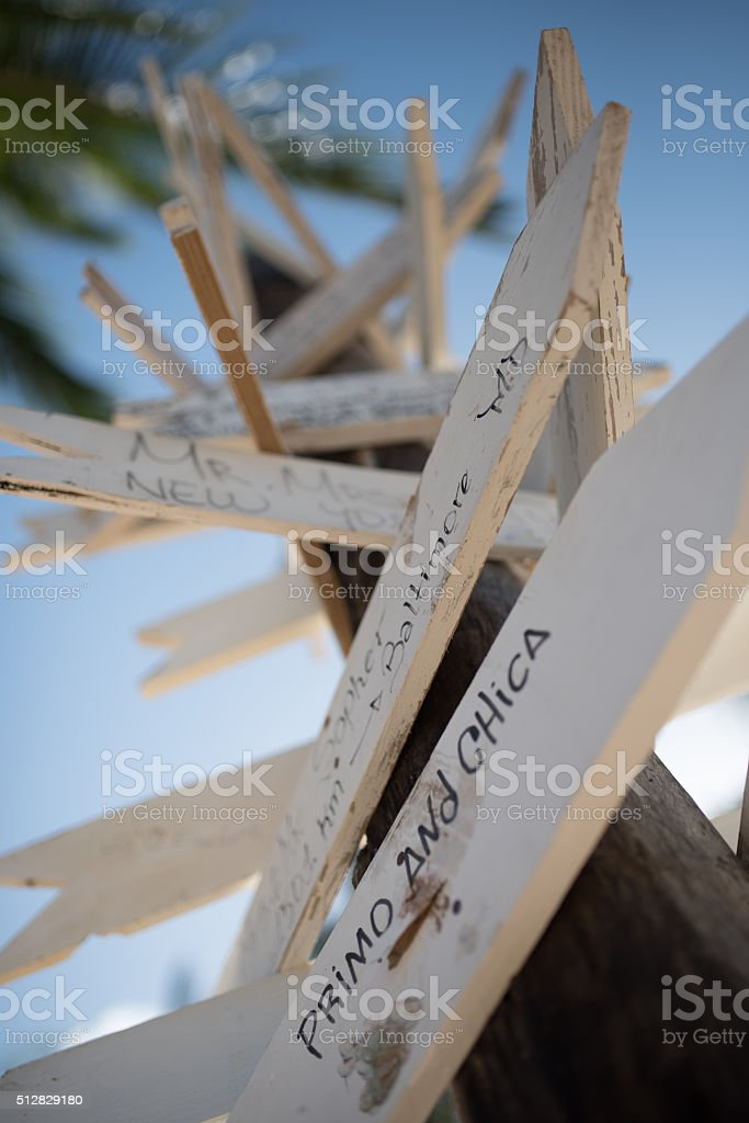 Creative Angle of a Directional Arrow Sign Post stock photo