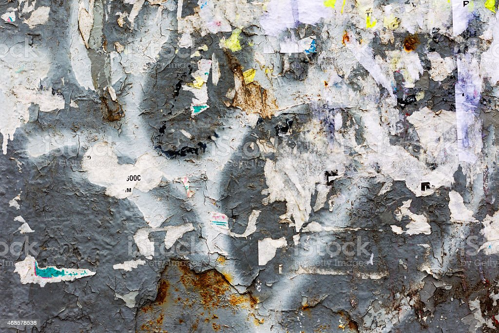 Creative background of rusty metal, painted gray paint carelessl stock photo