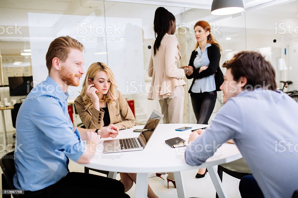 Creative business people brainstorming stock photo