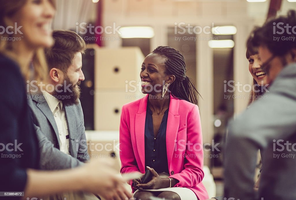 Creative business team meeting stock photo
