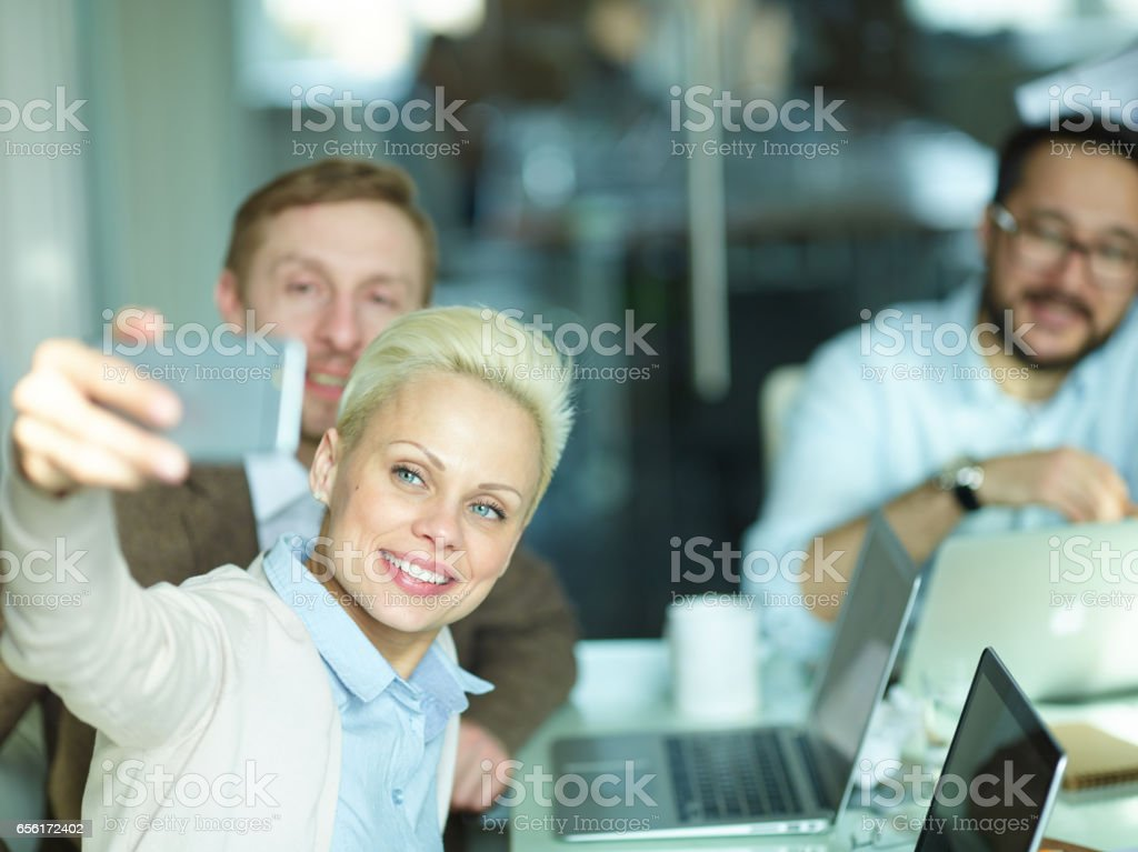 Creative Business team Taking Selfie at Meeting stock photo