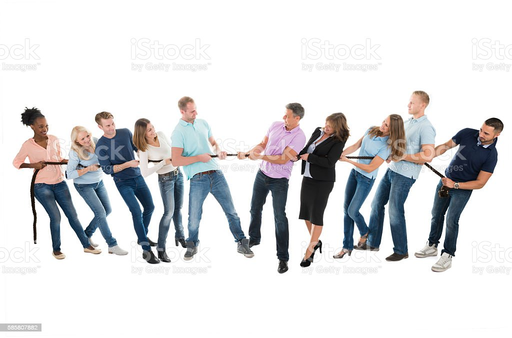 Creative Business Teams Playing Tug Of War stock photo