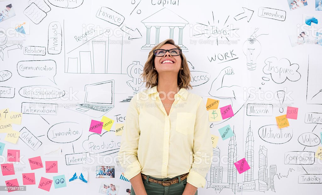 Creative business woman thinking stock photo