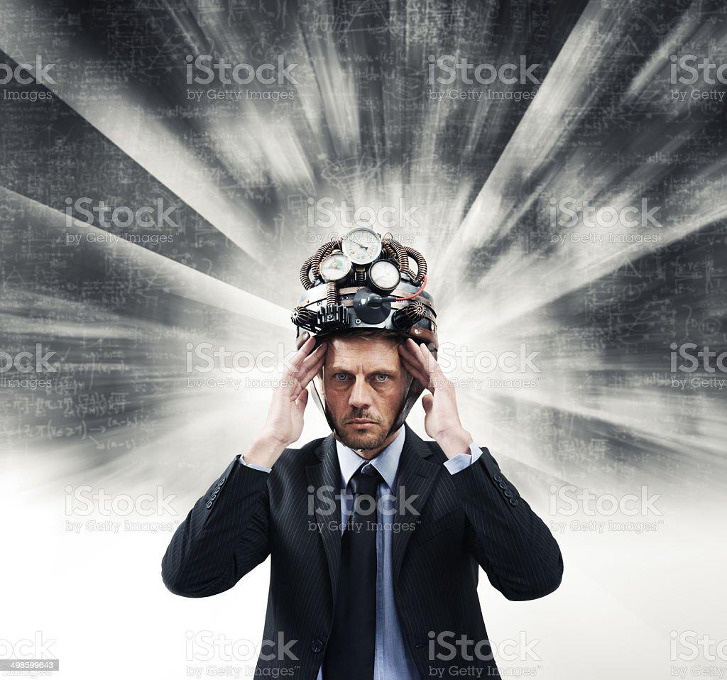 Creative businessman with steampunk helmet stock photo