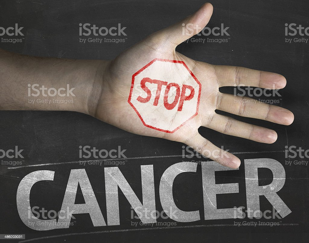 Creative composition with the message Stop Cancer stock photo