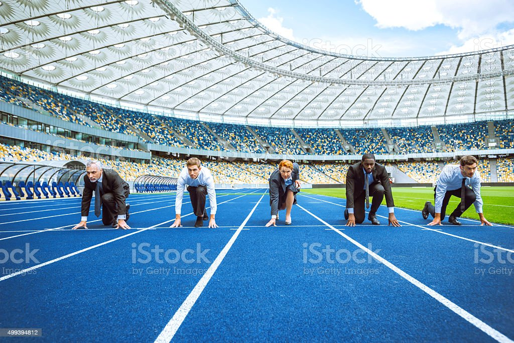 Creative concept for business competition stock photo