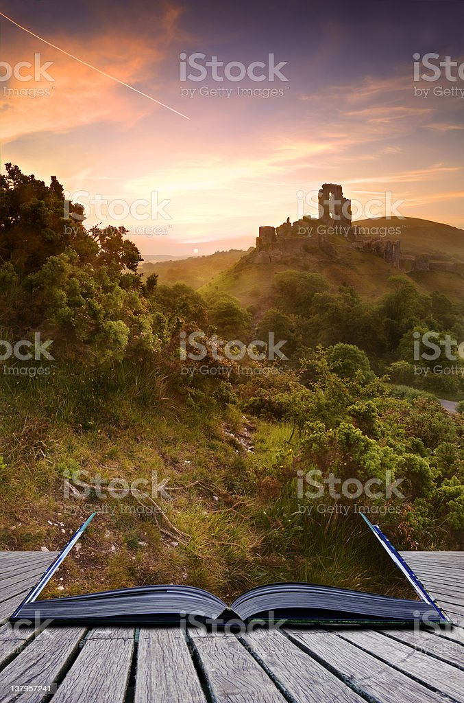 Creative concept romantic fantasy castle pages of magical book stock photo