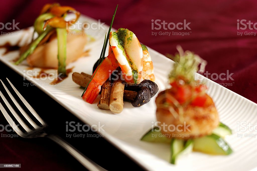Creative Cuisine Appetizer Shrimp Seafood. stock photo
