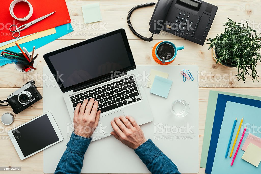 Creative designer in his office stock photo