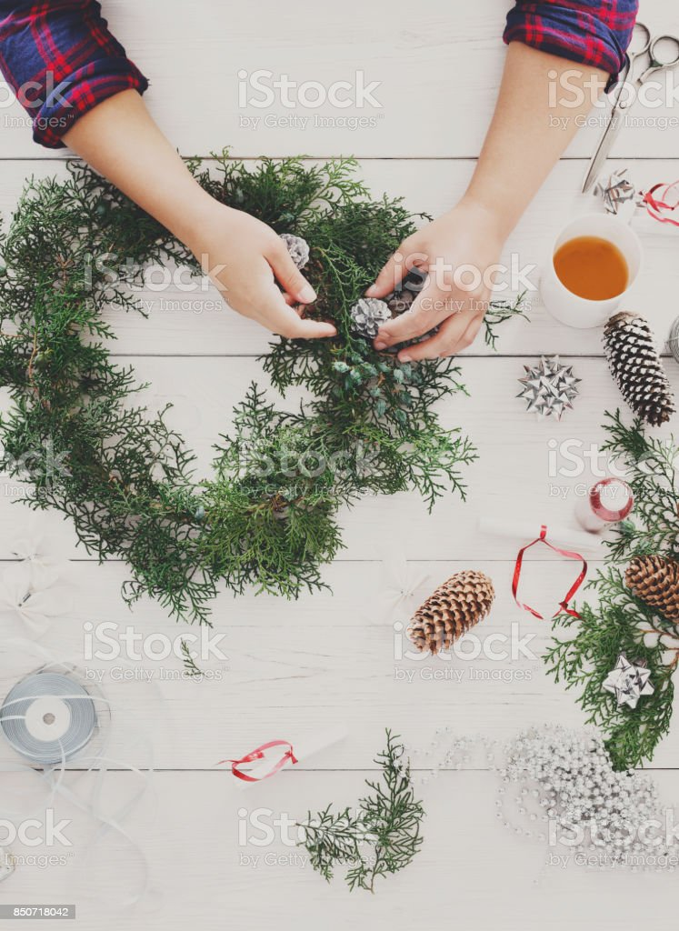 Creative diy hobby. Handmade craft christmas decoration, ornament and garland stock photo