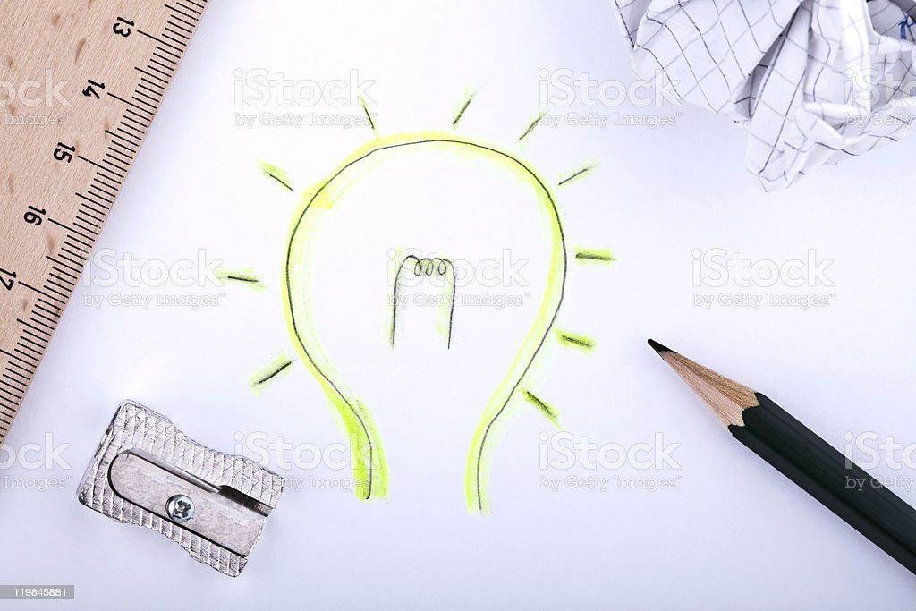 A creative drawing of a light bulb stock photo