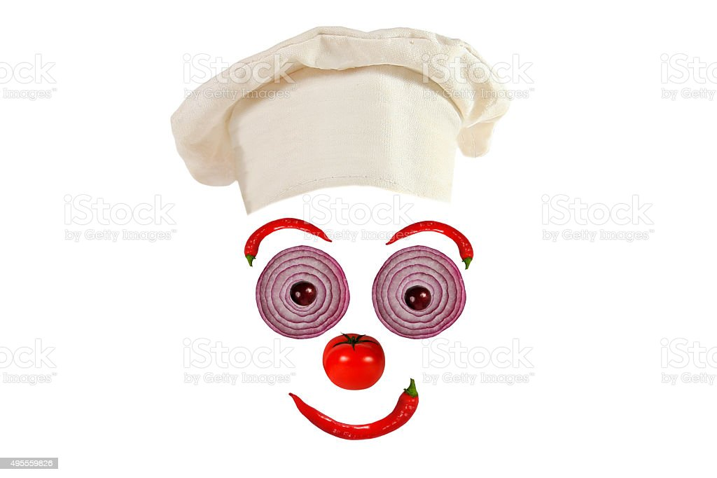 Creative food concept. Funny portrait of a cook, stock photo
