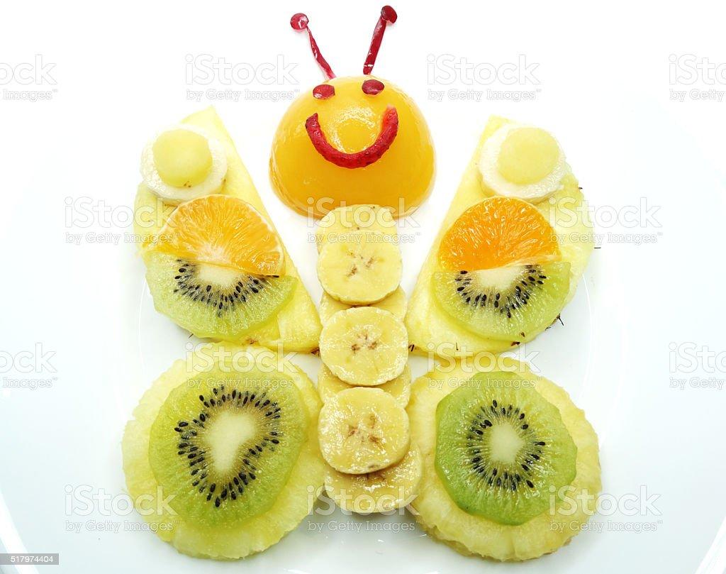 creative fruit child dessert butterfly form stock photo